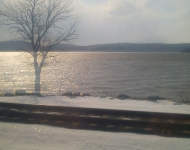 Train journey, Hudson River, Winter